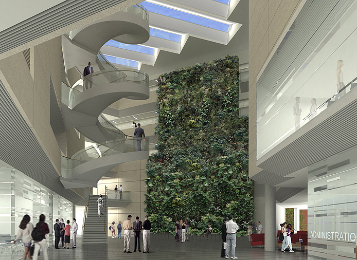University 39 s new building features living biofilter for Construction bio