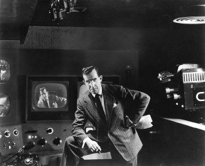 "Edward R. Murrow on the set of ""See it Now."""
