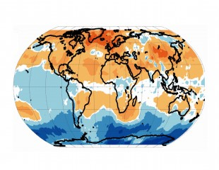 This map of the Earth shows areas of particularly strong warming of the lower atmosphere in yellow, orange and reddish colors. Note the enhanced warming...