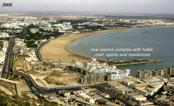 Since the earthquake in 1960, Agadir, which killed 15,000 and left 35,000 survivors homeless, the city has rebuilt and grown into a popular resort town with a population of 680,000. This photo, taken in 2005, shows the beachfront growth.