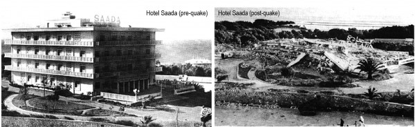 Hotel Saada in Agadir, Morocco, before and after an earthquake devastated the city in 1960. Researchers at the University of Arkansas are studying how survivors and current residents perceive earthquake preparedness and risk.