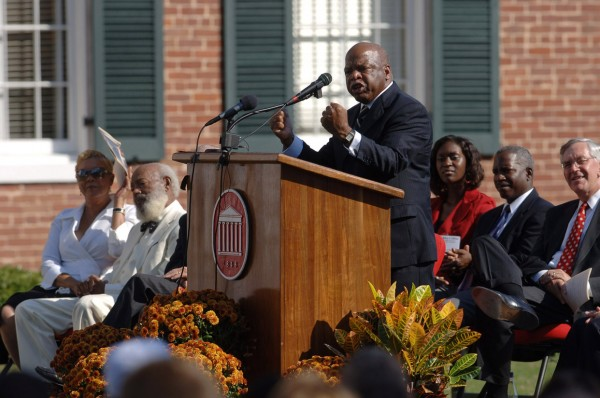 U.S. Rep. John Lewis, D-Ga., speaks during dedication ceremonies for the the University of Mississippi's civil rights monument Oct. 1 on the Oxford campus.