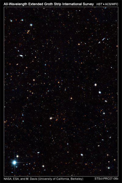 This cosmic tapestry unveils galaxies in all shapes, sizes, and colors. Some of the galaxies are nearby; the smaller ones are far away and existed when the universe was only a small fraction of its current age of roughly 14 billion years. The Hubble observation, made with the Advanced Camera for Surveys, is part of the All-wavelength Extended Groth Strip International Survey, a collaborative effort using major ground-based and space-based telescopes to focus on a narrow swath of sky near the Big Dipper. The region offers a clear view of the distant universe. The image was taken from June 2004 to March 2005