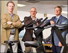 "(From left) John Leddy, Karl Kozlowski and Barry Willer have developed a new therapy, called ""controlled exercise,"" that helped Buffalo Sabre Tim Connolly..."