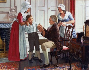 This image from the medical history series by Robert A. Thom is titled:  Jenner: Smallpox is Stemmed.  Vaccination against deadly infectious diseases was a major...