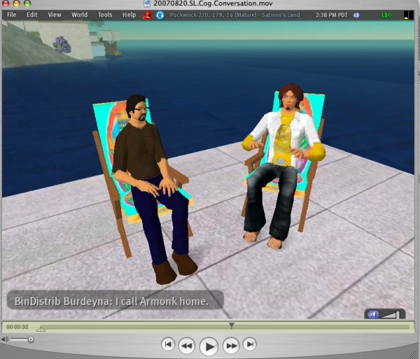 Screenshot of Second Life characters conversing