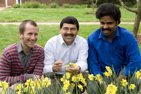 University of Virginia professor Jose Fuentes (center) and students Quinn McFrederick (left) and James Kathilankal (right), authored the study.
