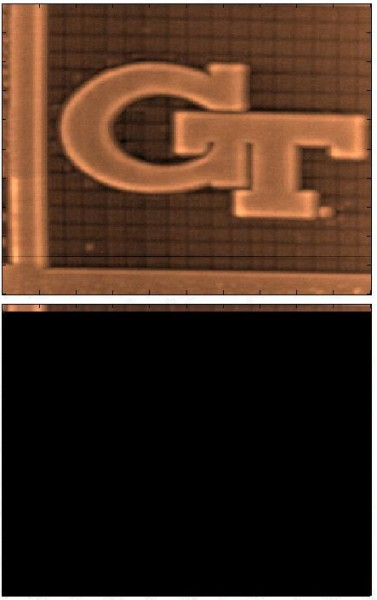 Five micron by five micron tapping mode atomic force microscopy images taken in four seconds with the FIRAT probe (top) and the regular AFM tip (bottom). After four seconds, the 256-line FIRAT image is complete while the regular image contains just four lines of data.