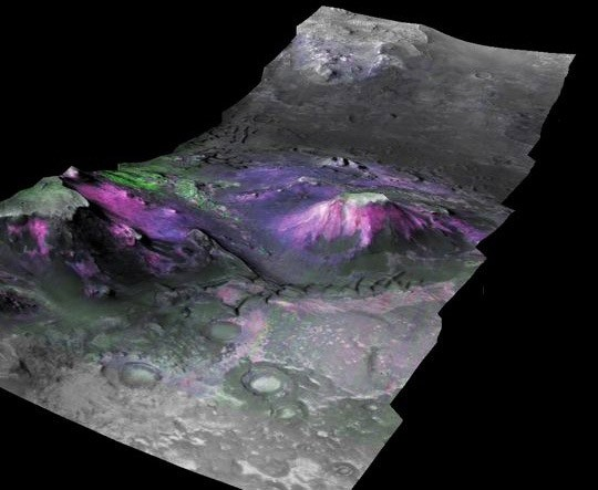 This three-dimensional image of a trough in the Nili Fossae region of Mars shows a type of minerals called phyllosilicates (in magenta and blue hues) concentrated on the slopes of mesas and along canyon walls. The abundance of phyllosilicates shows that water played a sizable role in changing the minerals of a variety of terrains in the planet's early history.