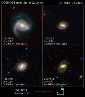 Newswise: Barred Spiral Galaxies are Latecomers to the Universe