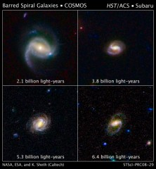 These images show four spiral galaxies with bars of stars and gas slicing through them.  The galaxies are at various distances from Earth. The galaxy at upper...