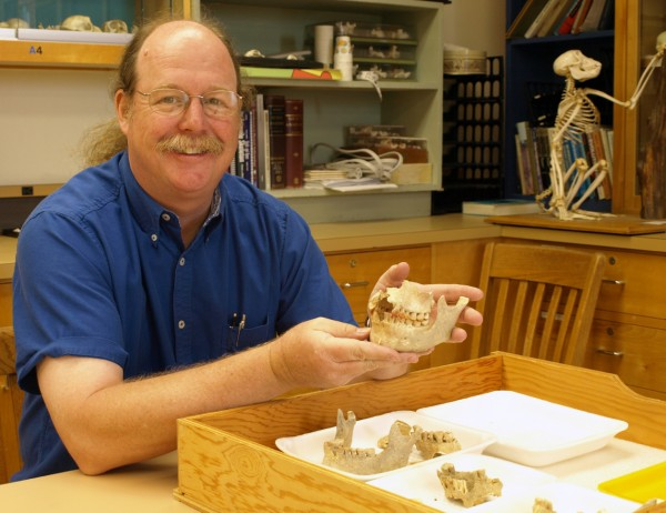 UO researcher Greg Nelson displays a portion of  his collection of Palauan jaws with teeth intact that he excavated from a burial site in Palau.