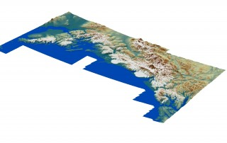 Digital elevation model of the Gulf of Alaska created using the program ArcGIS. In the model, brown colors represent high elevations (peak elevations up to 19,551...