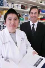Dr. Michael Norgard (right), chairman of microbiology, and Dr. Zhiming Ouyang, a postdoctoral researcher, have identified a protein that may help give...