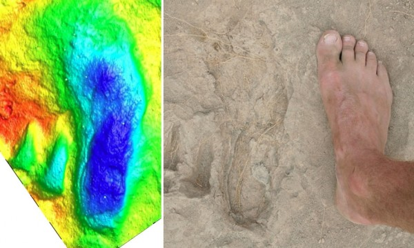 Photo of 1.5 million year-old footprint (center) beside a foot (right) and color-contoured 3D laser scan image (left) of the print.