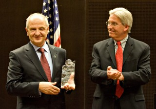 Kosovo President Fatmir Sejdiu receives the first Distinguished Global Leadership Award from Arizona State University. Vice President of Global Engagement...