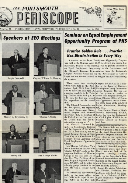 Story in the Portsmouth Periscope, the newspaper for the Portsmouth Naval Shipyard, about an equal employment opportunity program meeting at which Barney Hill spoke.