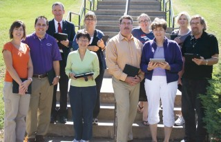 "Pictured are the 2010 Faculty Innovators ""iPad"" cohort, back row, L to R: John Closen (red tie), assistant professor, educational leadership; Christine..."