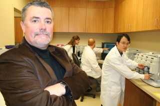 From left to right, SDSU adjunct associate professor Gareth Davies is shown in his lab at the Avera Institute for Human Behavioral Genetics with researchers...
