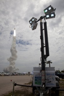 A hydrogen fuel cell-powered mobile lighting system developed by Sandia and several industry partners was deployed to the site of the final space shuttle launch on July 8 and observed by visitors, shuttle astronauts and members of the international media.