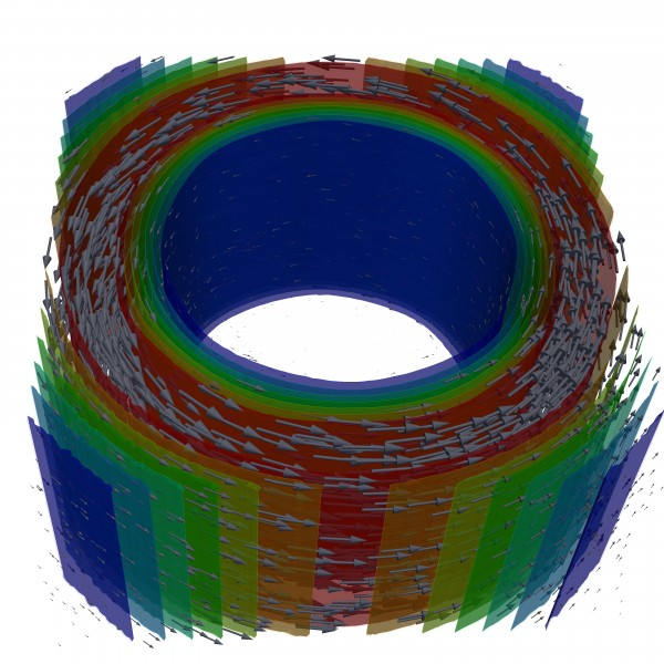 The superflow of two kinds of superconducting electrons (arrows show their velocities) as calculated on supercomputers. 