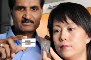 Krishna Naishadham, left, and Xiaojuan (Judy) Song display two types of wireless ammonia-sensing prototype devices.