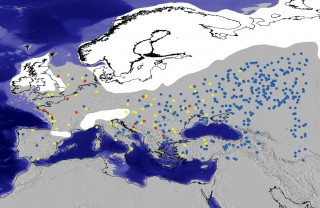 Computer agents (colored dots) simulating prehistoric hunter-gatherer groups are superimposed over a map of Late Pleistocene western Eurasia. Grey shows...