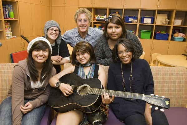 Rock icon Roger Daltrey of the Who visits teen cancer patients at Ronald Reagan UCLA Medical Center. 