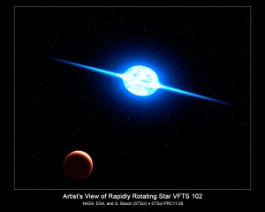 ARTIST'S VIEW OF FASTEST SPINNING STAR VFTS 102.  