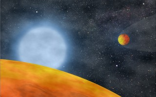 An artist's impression of the two Chthonian planets that were recently discovered to be orbiting a former red dwarf star.