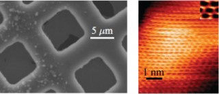 Left, an atomic force microscope image of the suspended graphene membrane on the copper mesh. On the right, a scanning tunneling microscope image with...