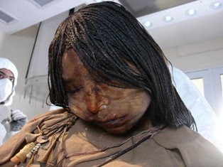 "Photo of the 500-year-old mummy known as ""The Maiden."""