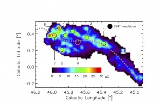 Magnetic field strength map of the galactic gas and dust cloud. Field strengths rise up to 30 micro-Gauss