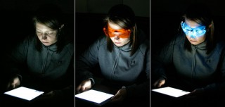 Study participants viewed the tablets without goggles, through orange-tinted goggles capable of filtering out radiation that can suppress melatonin, and through...