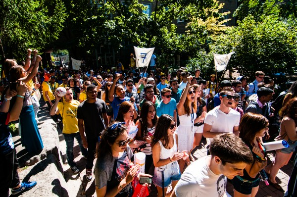Ryerson students chant and cheer as they fill the university's quad in anticipation of the Guinness World Record Challenge.