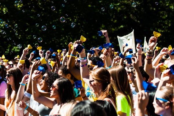 Ryerson students attempt to break the Guinness World Record for the largest cow-bell ensemble.