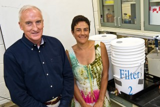 Bioethicist Peter Clark, S.J., and microbiologist Catalina Arango Pinedo, Ph.D.