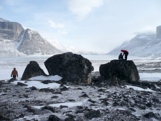 University at Buffalo students Elizabeth Thomas, Sean McGrane and Nicolás Young on Baffin Island (left to right). They were members of a team studying...