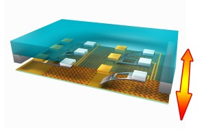 A 3D schematic of the ultrahigh-density probe memory device.  Researchers coated the tips of the probes with a thin metal film of hafnium diboride (HfB2)...