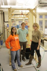 Left to right are: Kelly Pettersen, a civil engineering undergraduate research assistant; William Rhoads, a civil engineering doctoral student who will...