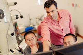 Reza Shahbazian-Yassar with students in his laboratory. He is conducting basic research aimed at making an inexpensive, sodium-based battery that could...