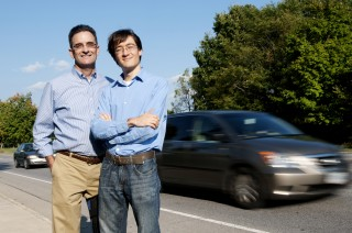 Clay Gabler, professor of biomedical engineering and researcher with the Virginia Tech Transportation Institute, and his Ph.D. student Kristofer Kusano,...