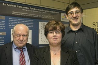 Stony Brook University researchers (from left to right) Sanford Simon, Perena Gouma and Milutin Stanacevic received a three year National Science Foundation...