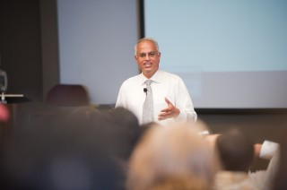 Dr. Bharat Balasubramanian, then vice president of group research and advanced Engineering at Daimler AG, gives a lecture at The University of Alabama...