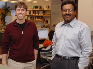 Iowa State University's Patrick Schnable, left, and Srinivas Aluru are developing a toolbox to help life sciences researchers analyze all of the data produced...