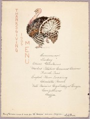 1905 Thanksgiving menu by illustrator George Elbert Burr. In the early 20th century, Burr worked as an illustrator for several magazines including Harper's,...