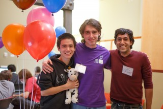The University of Chicago's World Finals-bound Whiteboard Erasers computer programming team (from left): Kevin Wang, Bill Waldrep and Naren Hazareesingh.