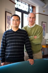 """The vast majority of patients we tested who have early symptoms. . . also have these antibodies,"" says Ambrus (right), co-author with Long Shen, both..."