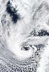 A polar low over the Norwegian Sea:  These polar storms can have hurricane-strength winds and are common over the polar North Atlantic, but are missing...