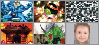 Clockwise from top left are images used in the study: Machamp, a large four-armed Pokemon; Pokemon Ball Trainer; scrambled image; a child's face; a Digimon...
